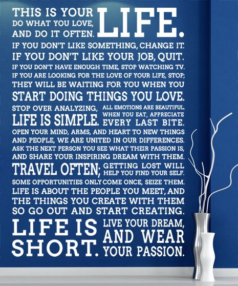 Wall Sticker \ This Is Your Life Big