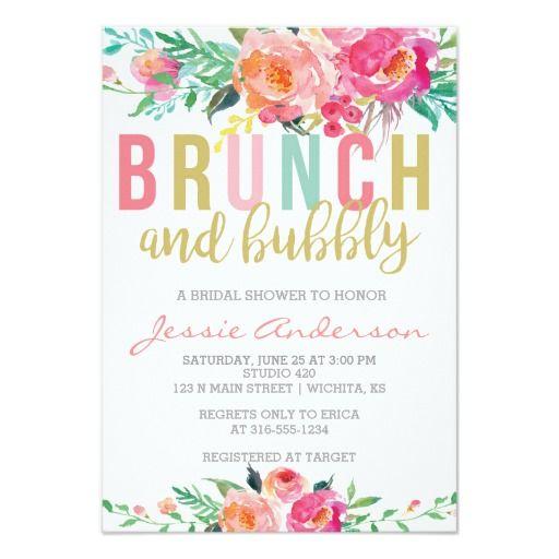 flowers champagne Gold Bright flower bridal shower brunch 5x7 Bridal Shower Brunch /& Bubbly Bridal Shower Invitation
