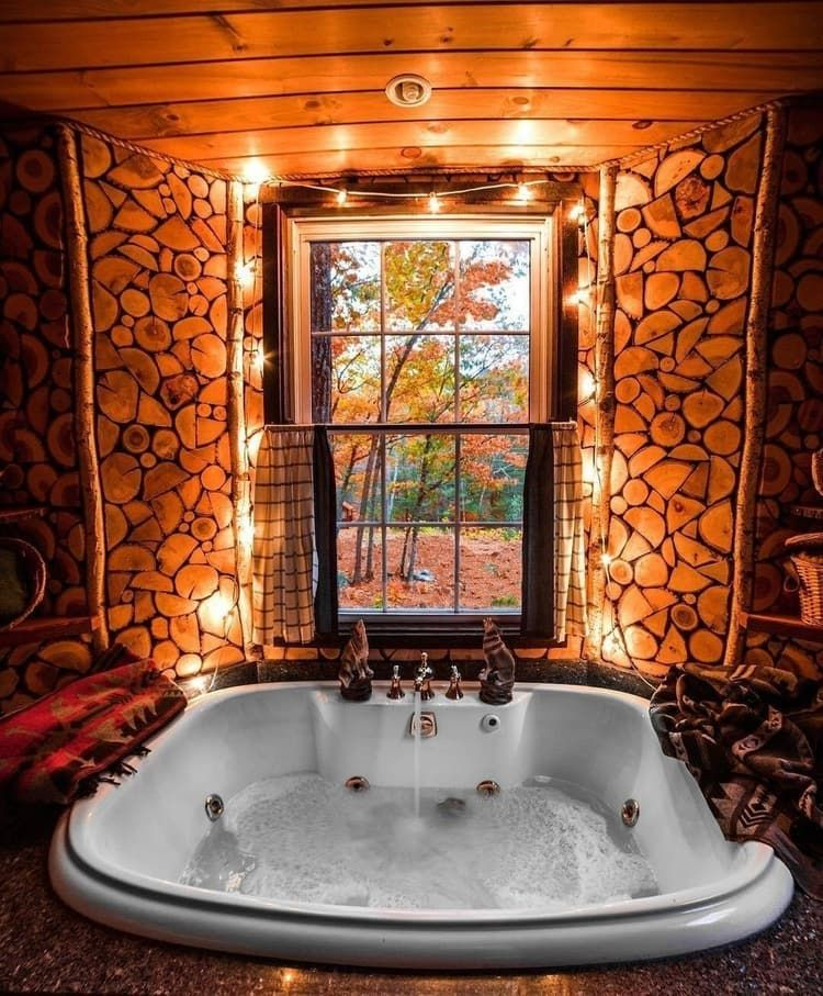 Fancy A Dip In The Tub Make Sure To Use Damp Or Wet Location Bulbs Near Your Jacuzzi And Hot Tubs Always Keep Luxury Tree Houses Rustic House Indoor Jacuzzi