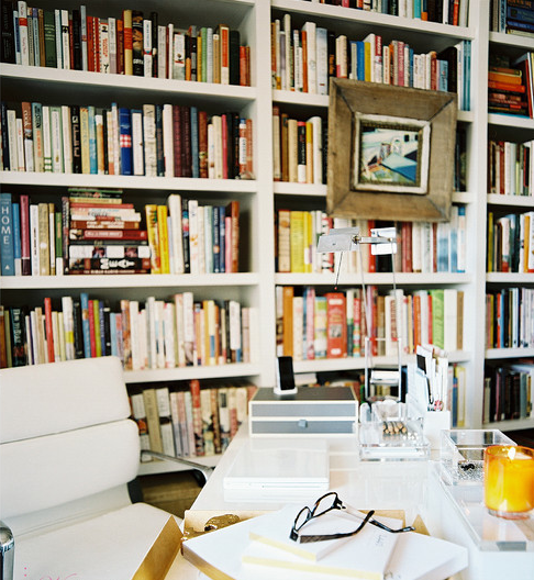 LIBRARY wall in dining room