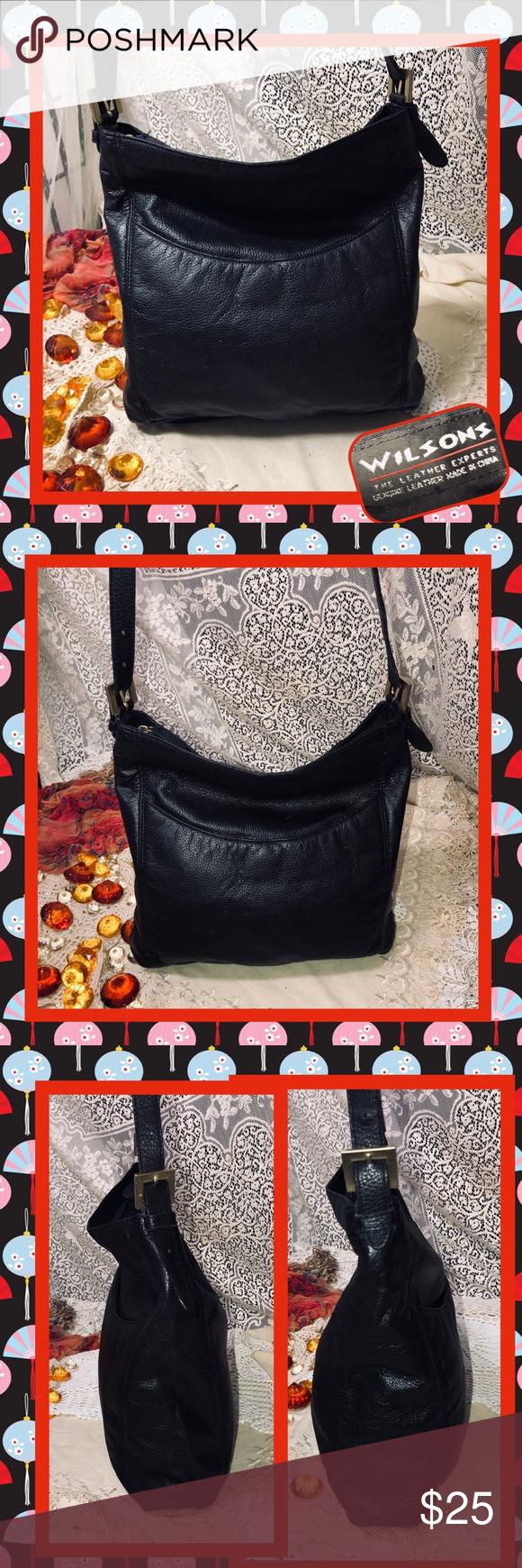 Wilsons Leather Black Shoulder Bag USED Very nice soft