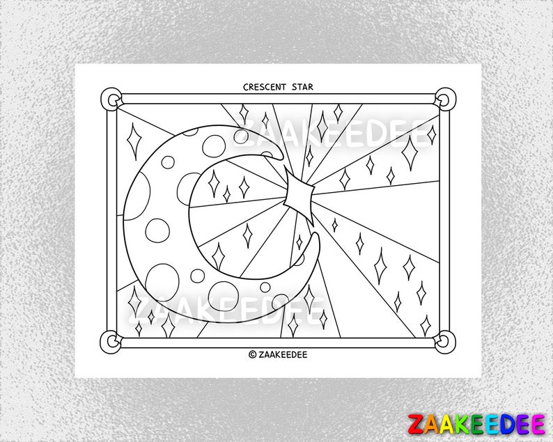 Crescent Star Coloring Page PDF Instant Digital