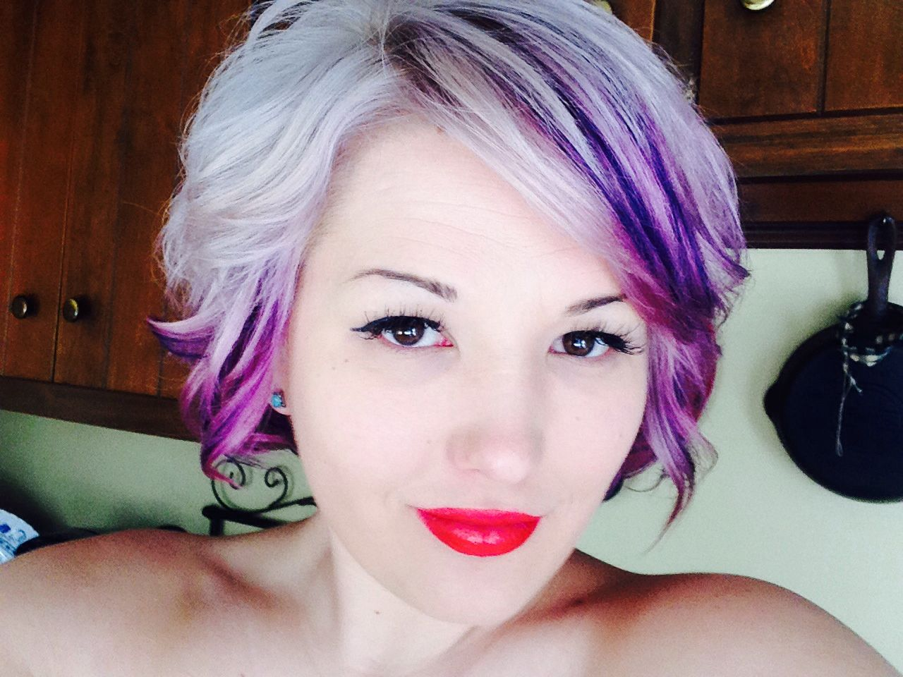 platinum blonde short hair with purple low lites hair