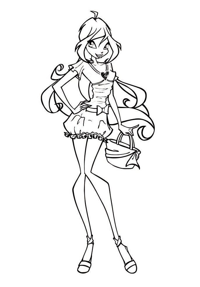 Winx Bloom Coloring Pages In 2020 Paw Drawing Art Drawings Sketches Simple Coloring Pages