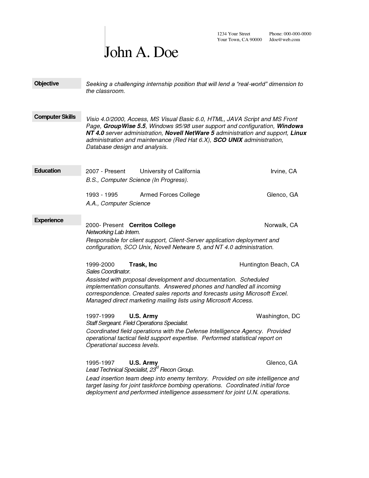 computer science resume skills