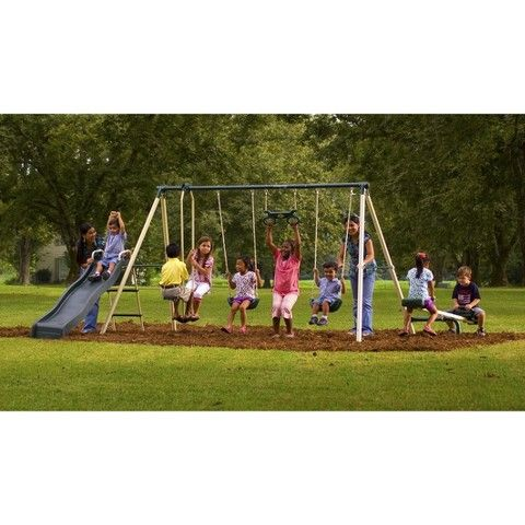 Flexible Flyer Backyard Flyer Ii Steel Swing Sets Ivory Green
