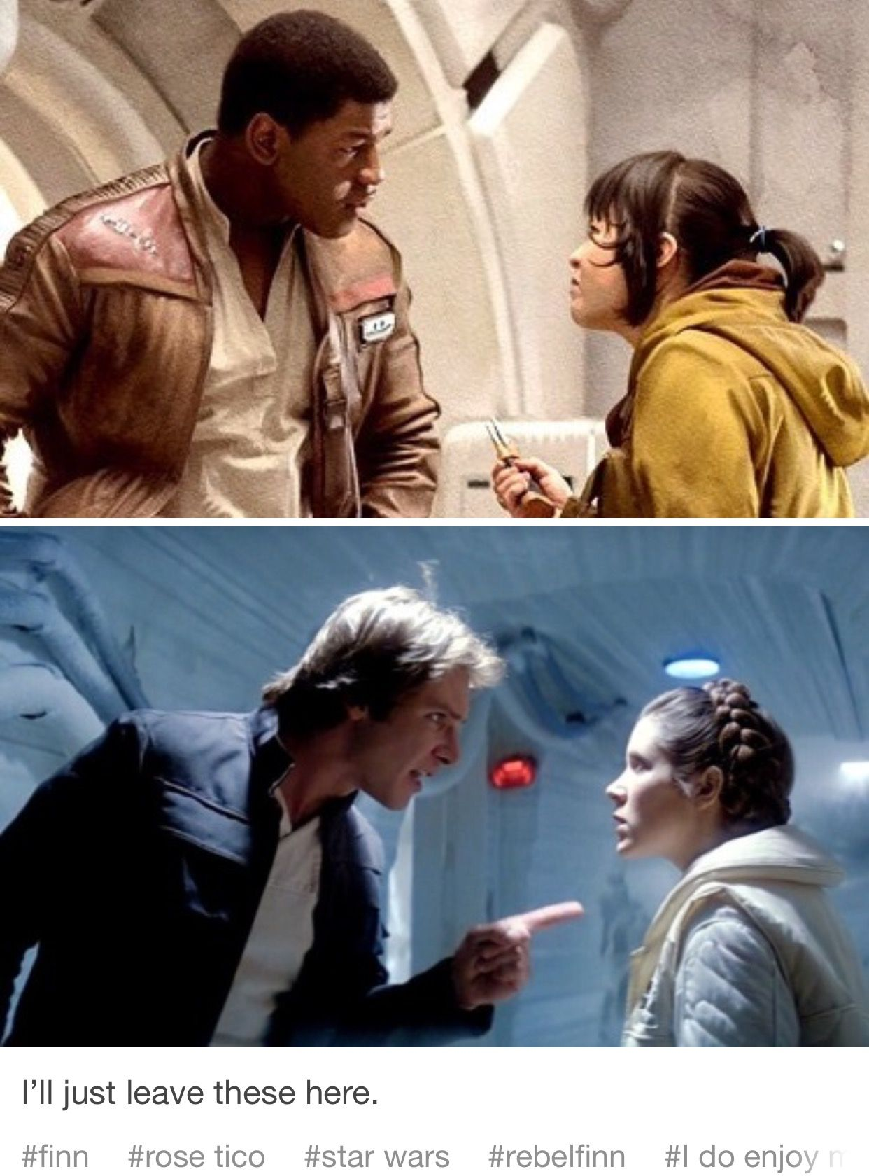 I Like The Frames But I Don T Like Comparing Rose And Finns Relationship To Han And Leia Star Wars Ships Star Wars Universe Star Wars Memes