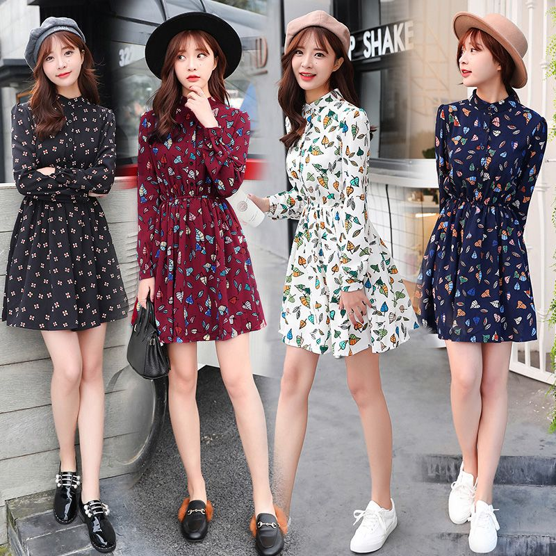 b5c01b1df 2017 spring and summer new Korean printing was thin skirt skirt spring and  autumn fashion long-sleeved floral chiffon dress