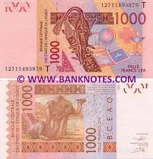 Money Notes Also Called Bank In Togo The Exchange Rate From Us Dollars To Cfa Franc Is 1 0 0017