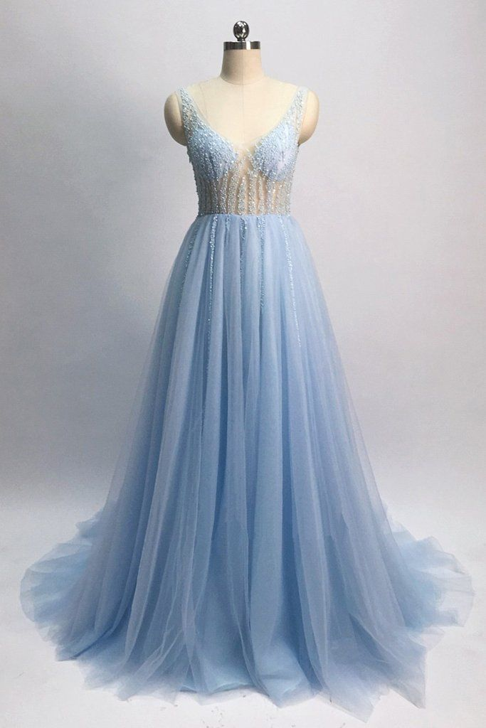 442143a3514 Light blue tulle V neck pearl see through long customize evening dress