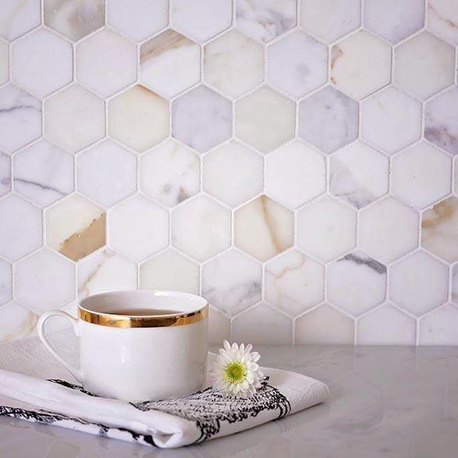 2 Calacatta Gold Hexagon Tile Honed - Sheet