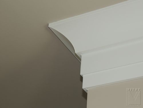 Cove crown moulding with backer mouldings and trimwork for Contemporary trim profiles