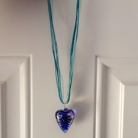 Hand Blown Glass Necklace Hand blown glass heart pendant hangs from ribbon and blue rope strands Jewelry Necklaces