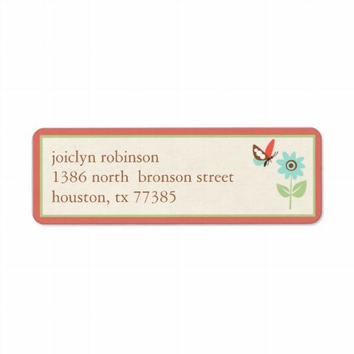 Fun Flowers Return Address Label Cute baby shower return address - sample address label