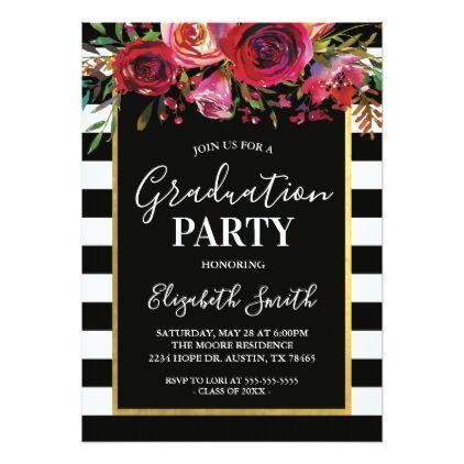 Black stripe floral graduation party invitation rsvp invitation black stripe floral graduation party invitation filmwisefo Choice Image