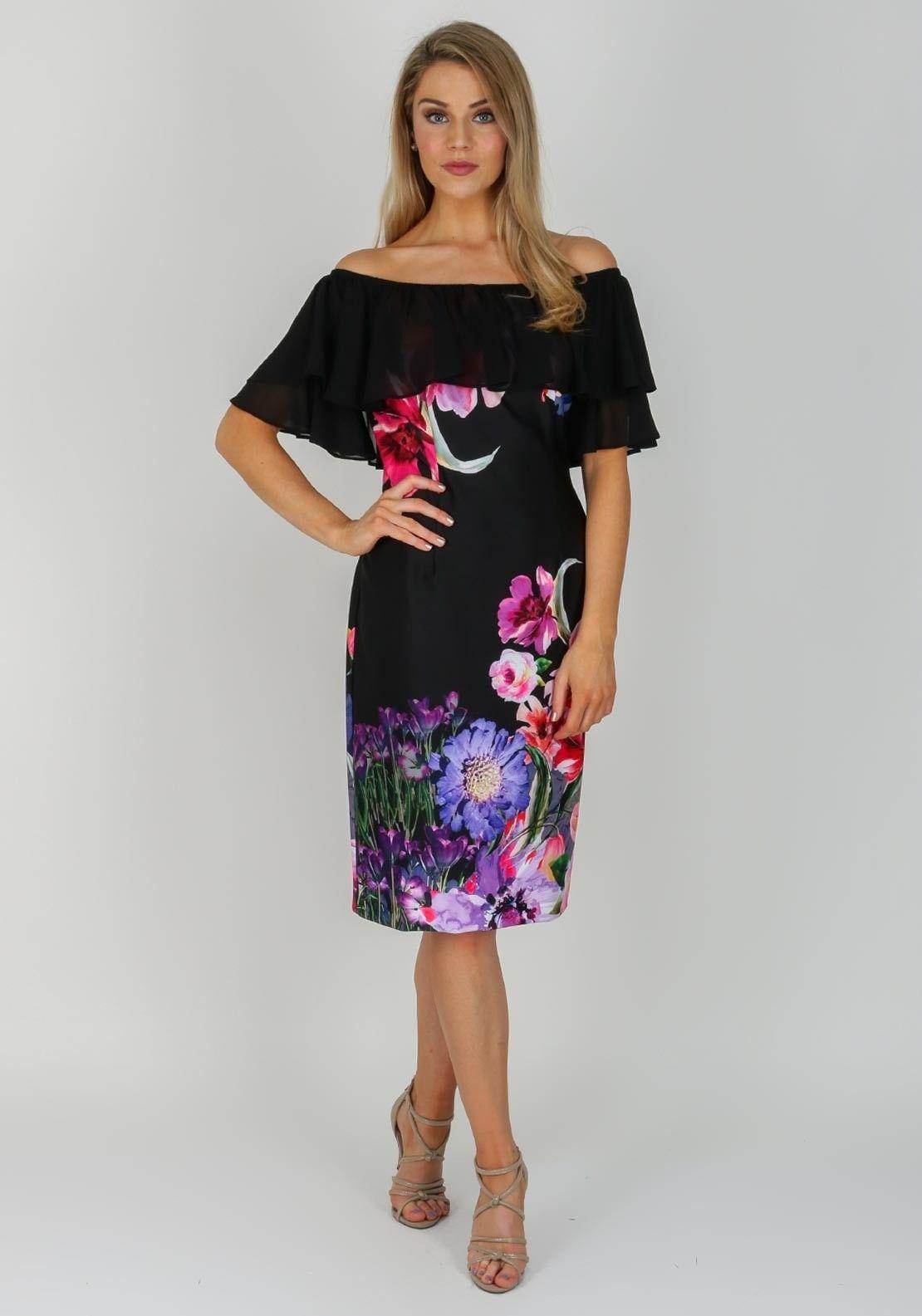 Joseph Ribkoff Floral Bardot Dress Black Multi Floral Bardot Dress Bardot Dress Dresses [ 1585 x 1110 Pixel ]
