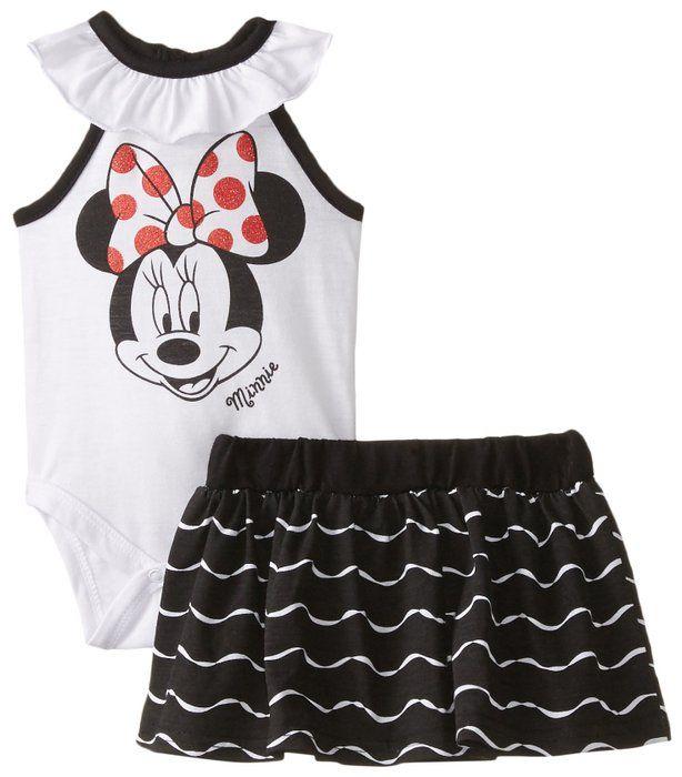 64e55d5ddbff Disney Baby-Girls Newborn Minnie Mouse Creeper with Knit Skirt ...