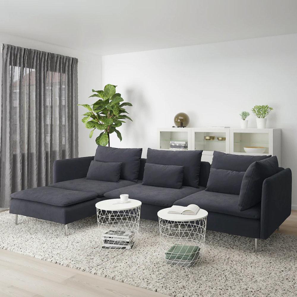 SÖDERHAMN Sectional, 4seat with chaise, Samsta dark