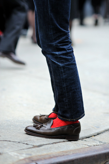 jeans, no break, red socks and loafers - somewonderfulthings