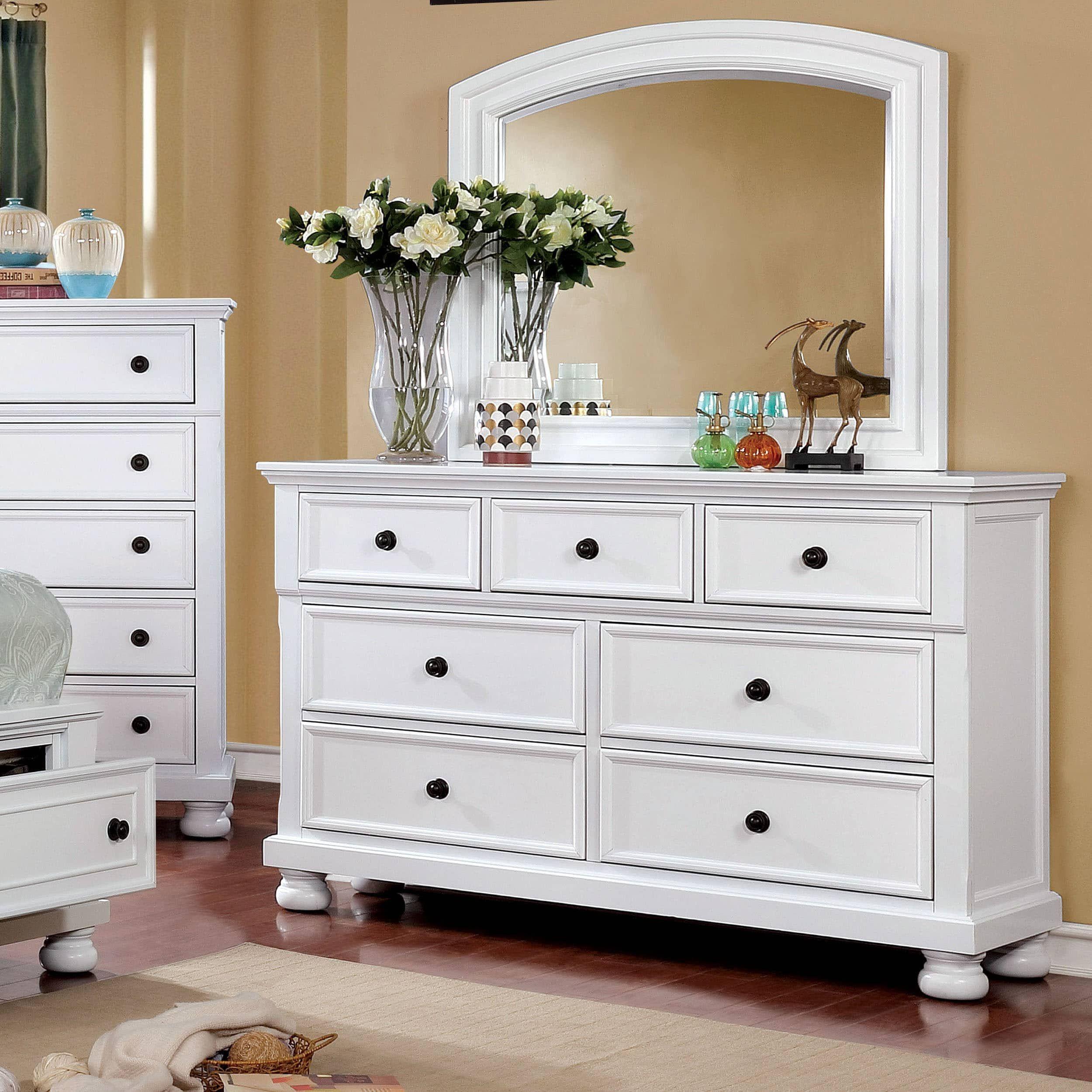 Furniture of america verona traditional 2 piece dresser and mirror set white