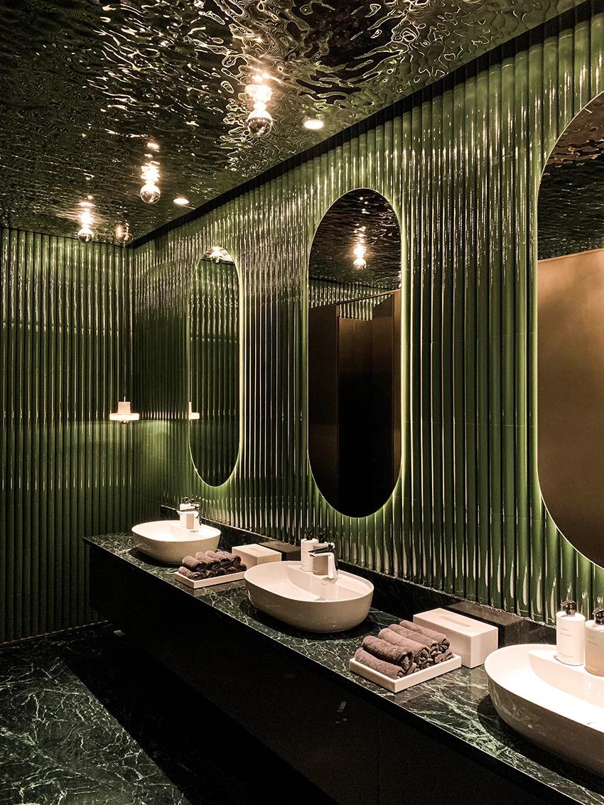 Wuji Studio Installs Reflective Riverlike Ceiling Within Rever 玥 Restaurant In China Restaurant Bathroom Restroom Design Bathroom Interior Design