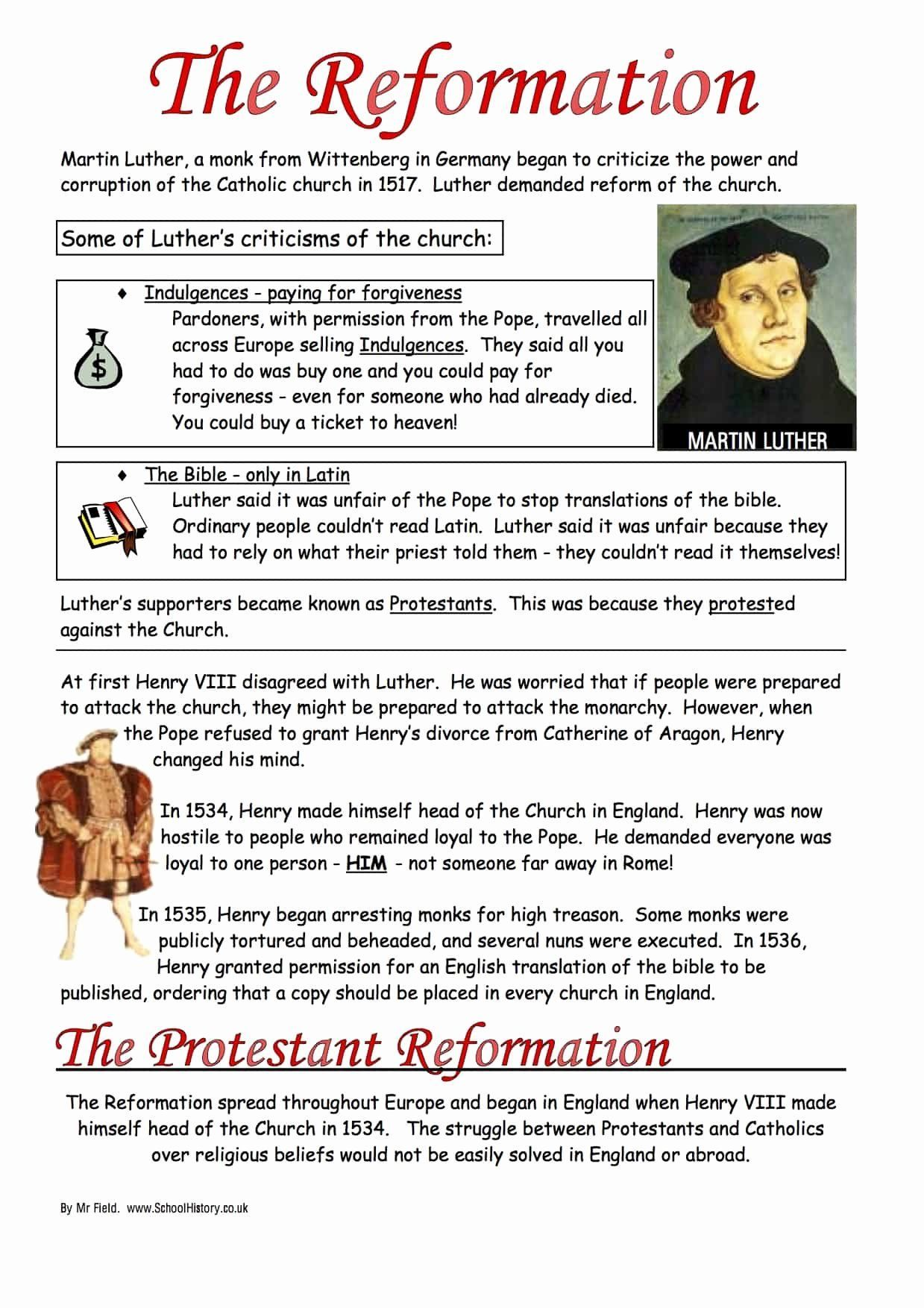 Protestant Reformation Worksheet Answers Luxury The