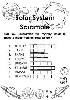 solar system scramble early elementary school solar system our solar system names of the. Black Bedroom Furniture Sets. Home Design Ideas