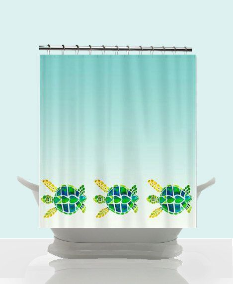 Swimming Sea Turtles Bathroom Set Includes Shower Curtain Switchplate Cover And Ceramic Bath Coastal Beach Surfer Decor