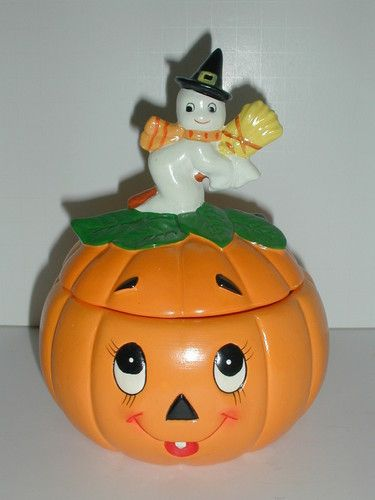 Vintage Lefton Halloween Pumpkin with Ghost Witch Lid Candy Dish - vintage halloween decorations ebay