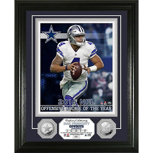 Dallas Cowboys Dak Prescott 2016 Rookie Of The Year Silver