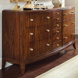 Bernhardt Zebrawood Dresser American Drew Glass Dresser
