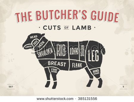 Cut of beef set Poster Butcher diagram and scheme - Lamb Vintage