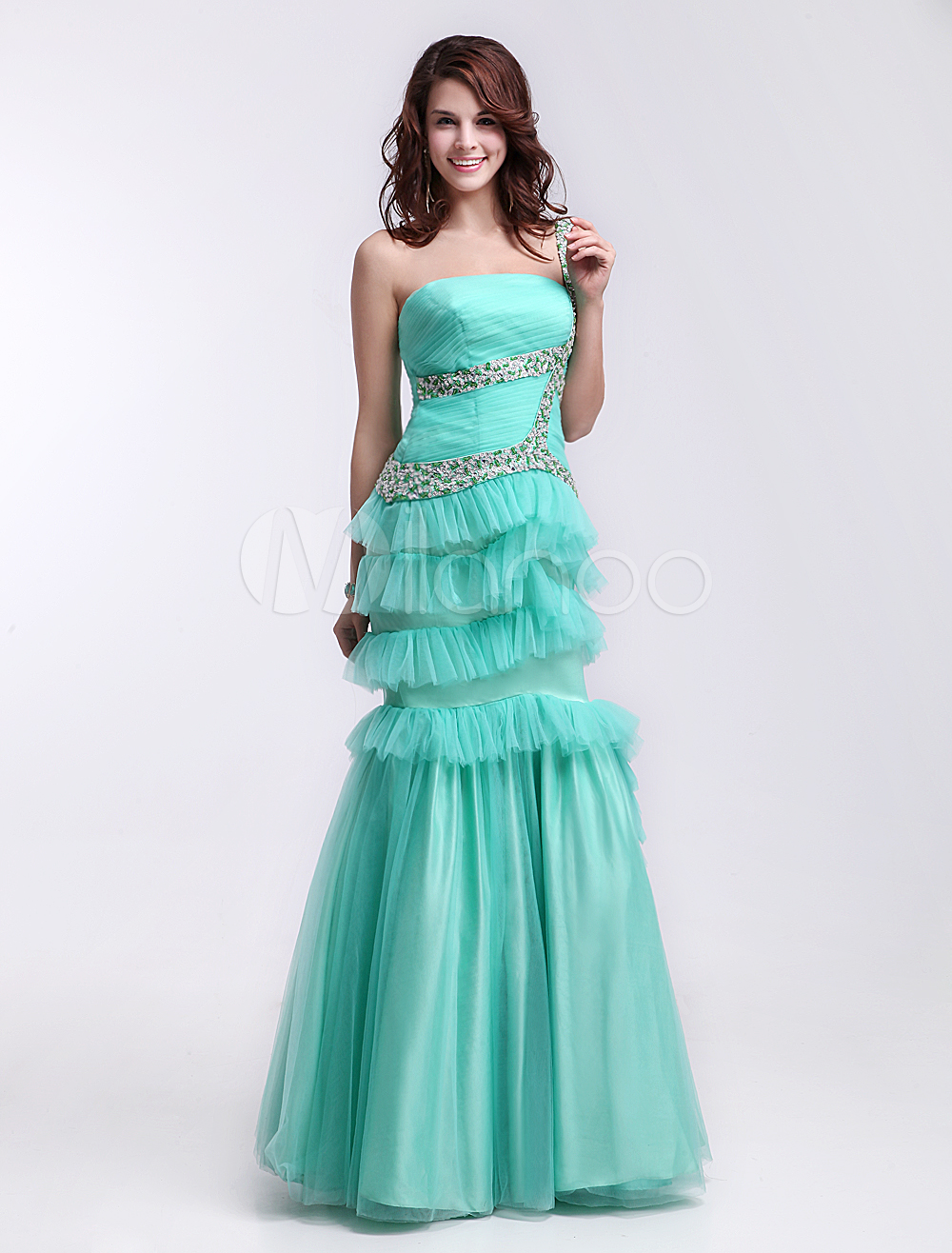 Fashion mint green strapless floor length tiered mermaid prom dress