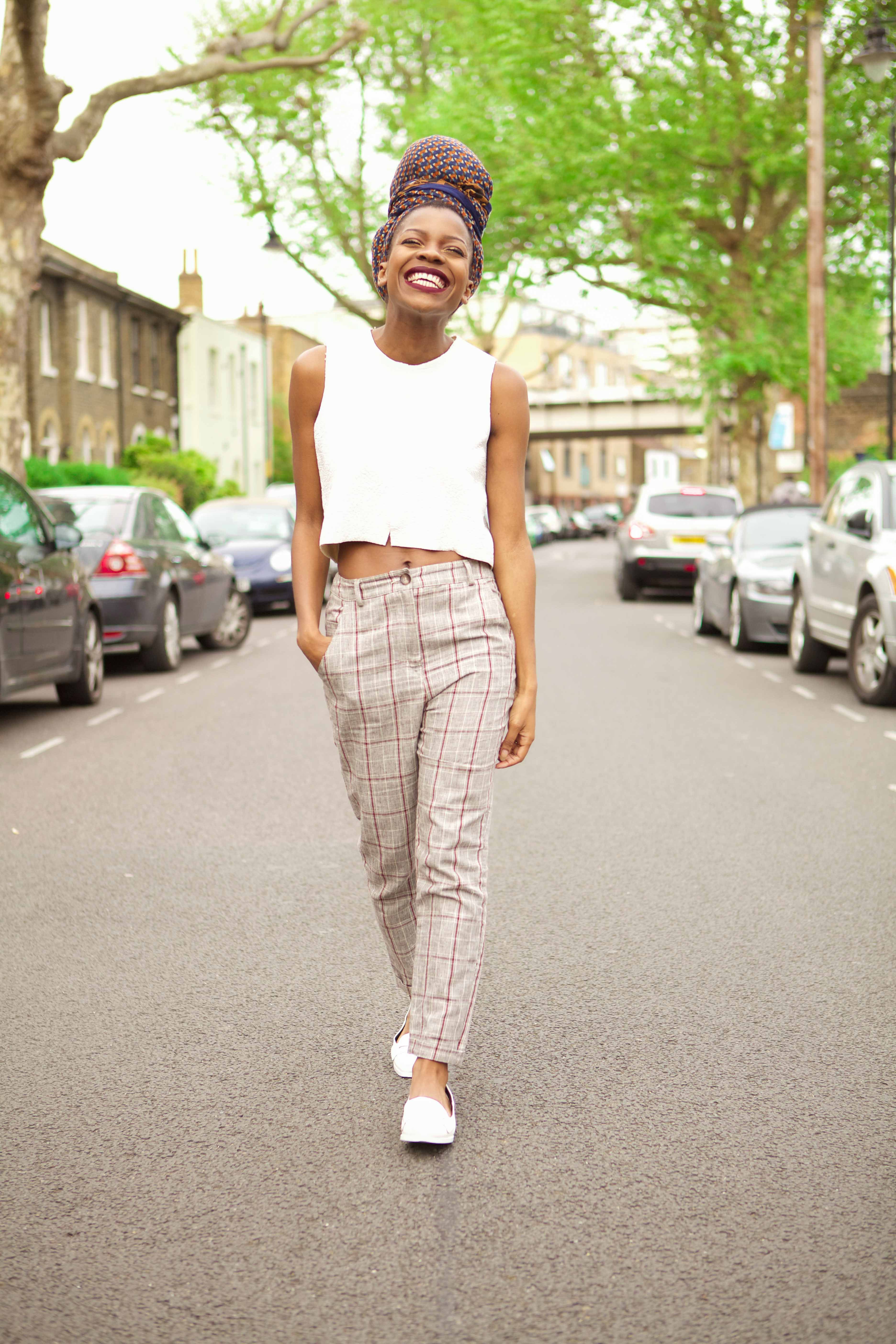 zara crop top, asos check trousers, high waist trousers, river island shoes, pointy flats, i go by frankie, freddie tietcheu, she unleashed, personal stylist london, confidence coach