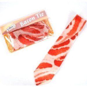 Men's Bacon Meat Tie / Necktie, Novelty Gag Gift, 54 Inches
