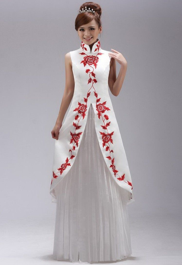 7d9dd15fc2 White Taffeta Red Embroidery Mandarin Collar Chinese Style Prom Dress -  iDreamMart.com