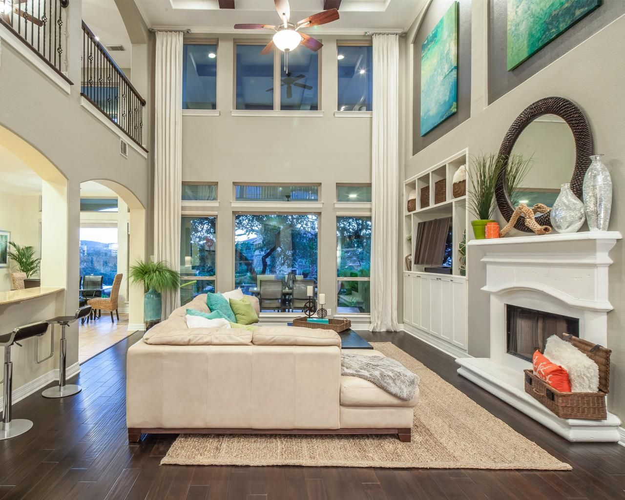 White Coastal Living Room With High Ceilings Hgtv High Ceiling