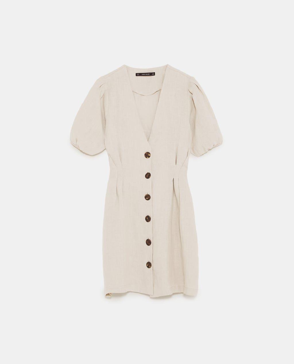 zara buttoned linen kleid for sale 92462 c02df