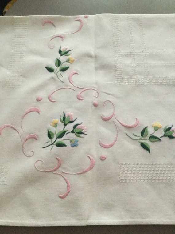 Hermosa mano bordados manteles franceses aprox 79 x 86 - Manteles de mesa bordados ...