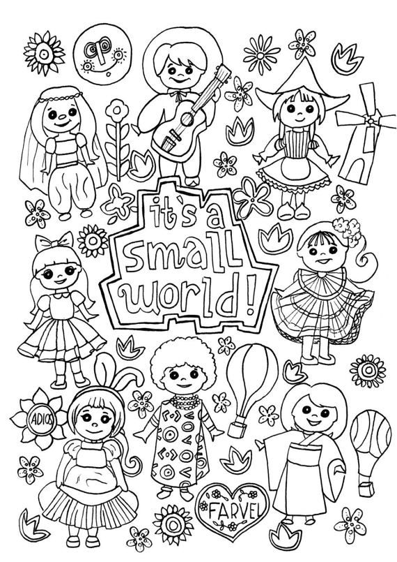 Its A Small World Coloring Page Digital Download Disney Coloring