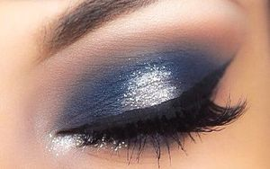 Navy Blue Eye Shadow Look With Sparkly White On Center Of Lids