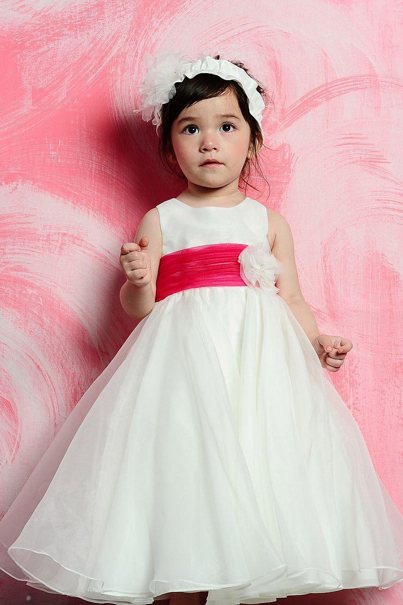 Short sleeve empire waist lace over satin dress for flower girl ...