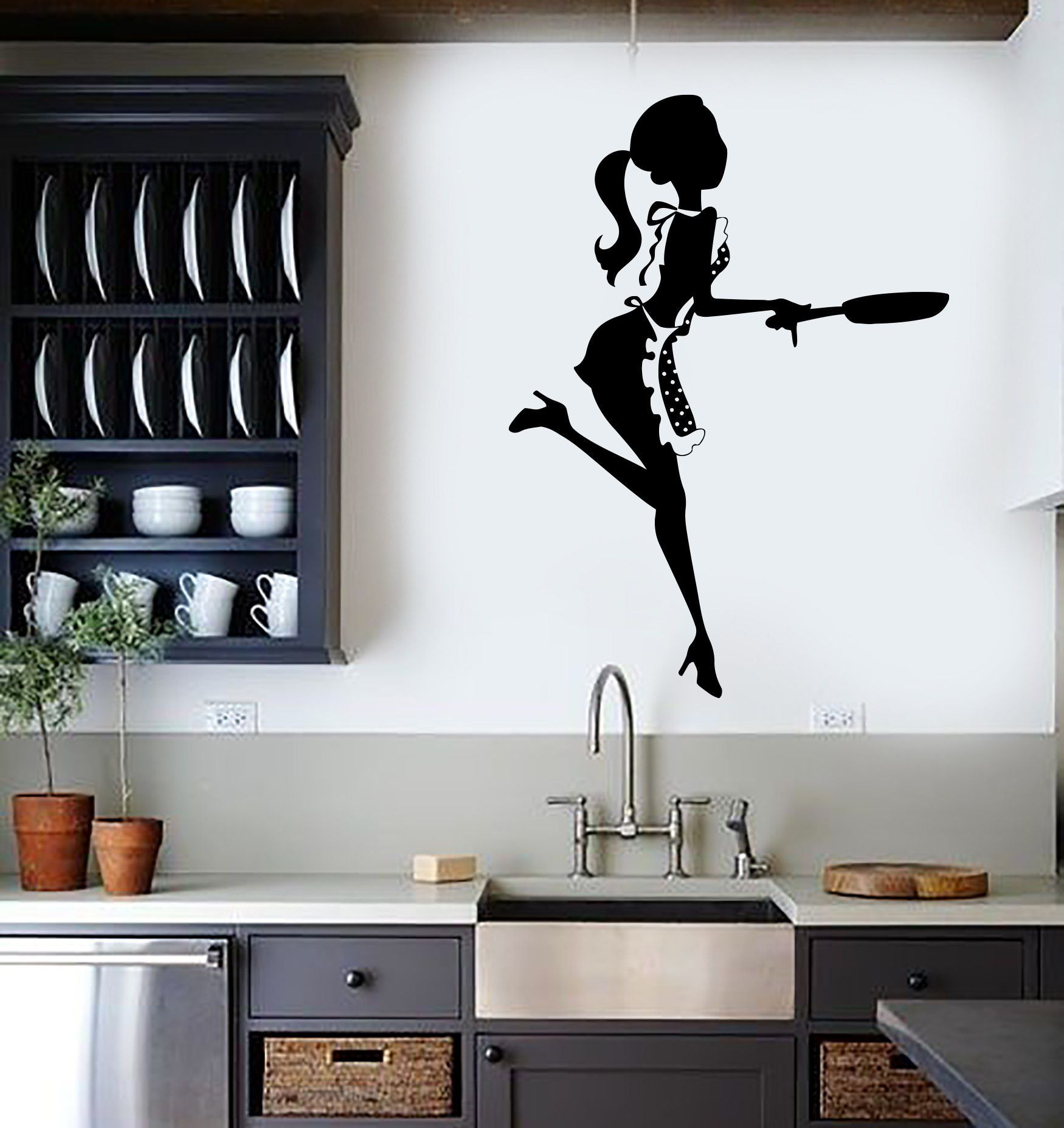 Kitchen Mural Vinyl Wall Stickers Kitchen Chef Woman Cook Cooking Restaurant