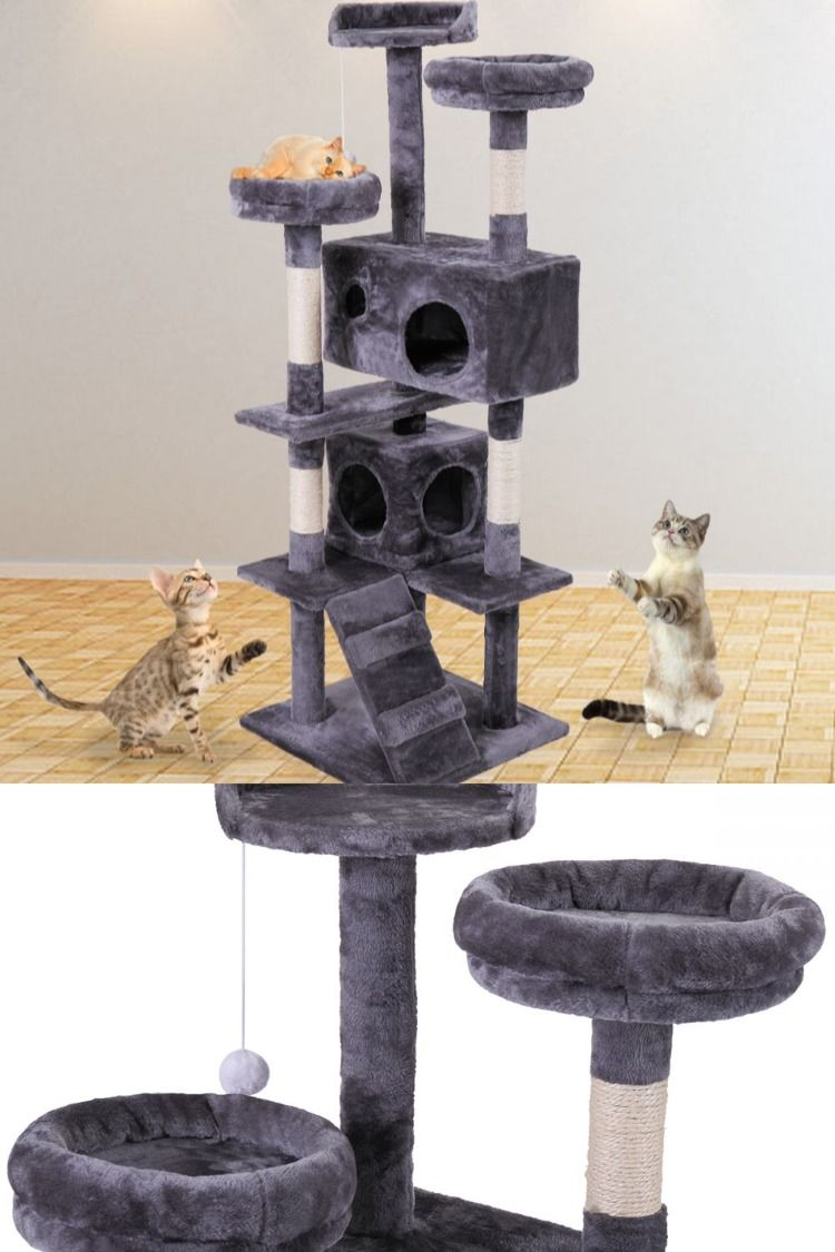 3 Tier Cat Scratching Tower W 2 Condos Rope Swing Modern Cat Tree Cat Tree Condo Dog Stairs