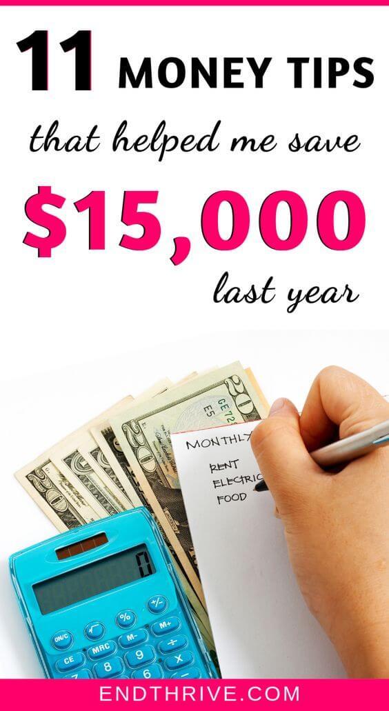 11 Money Saving Tips I Used to Save $15,000 Last Year #startsavingmoney