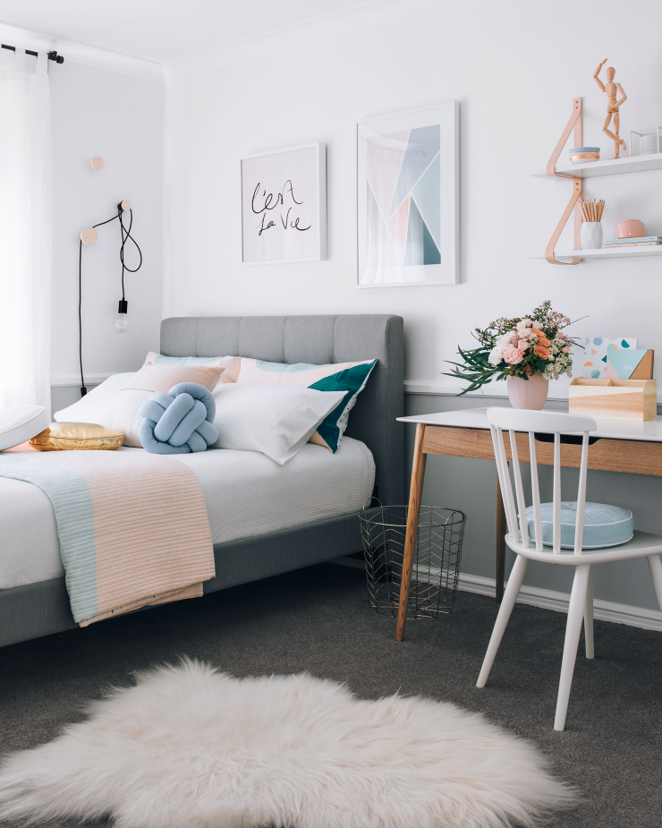 A Warm Pastel Scandinavian Style Bedroom Home Decor