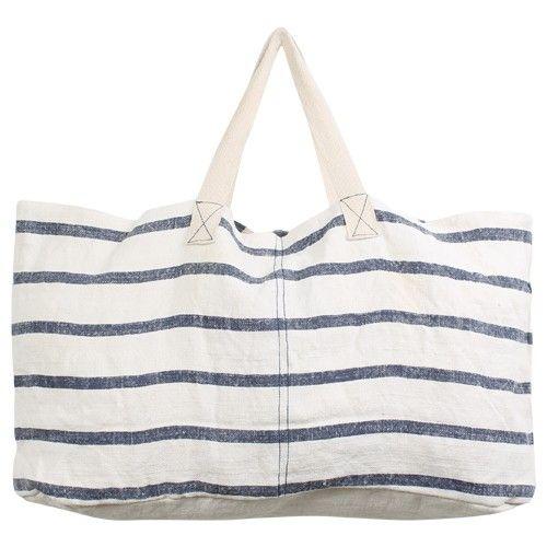 Stoffen Strandtassen : Strandtas streep handig zomerse strepen