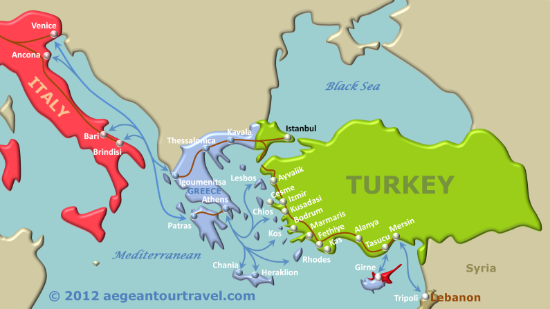 Map Of Italy Greece And Turkey.Ferry Route Map Italy Greece Turkey Europe Pinterest Greece
