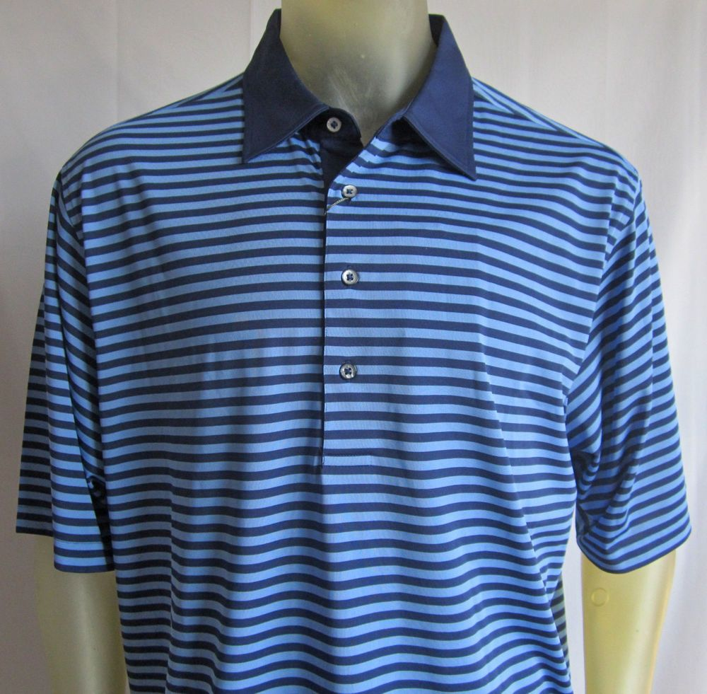 NWT Donald Ross Mens Short Sleeve Golf Shirt Navy Blue On Blue Stripes Size XL #DonaldRoss #PoloRugby
