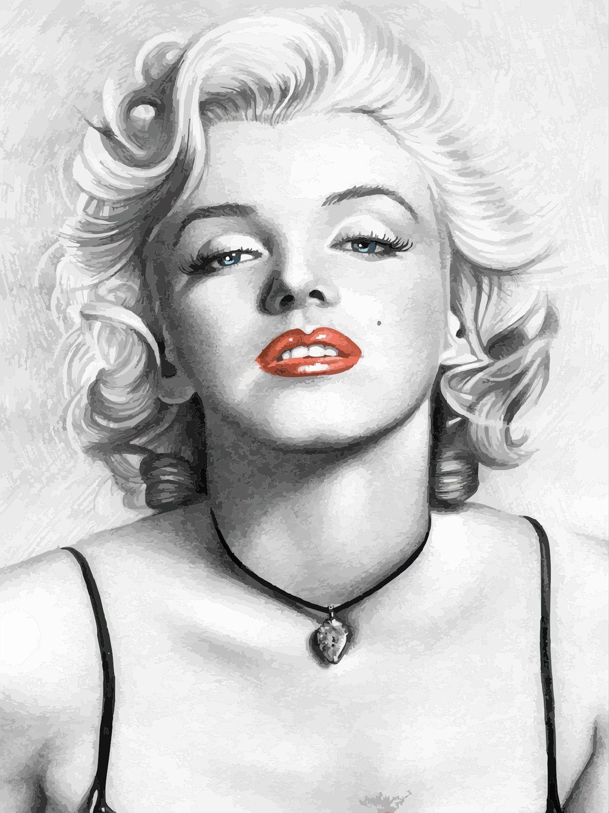 Quadro Tela Decorativa Impressa Marilyn Monroe Ilustração Desenho a ...